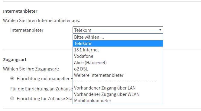 Internetanbieter auswählen